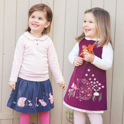 Plum Hedgehog Cord Pinafore Jumper Dress