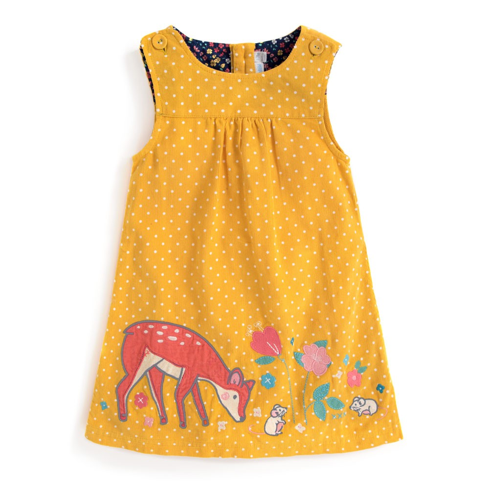 Yellow Deer Cord Pinafore Jumper Dress