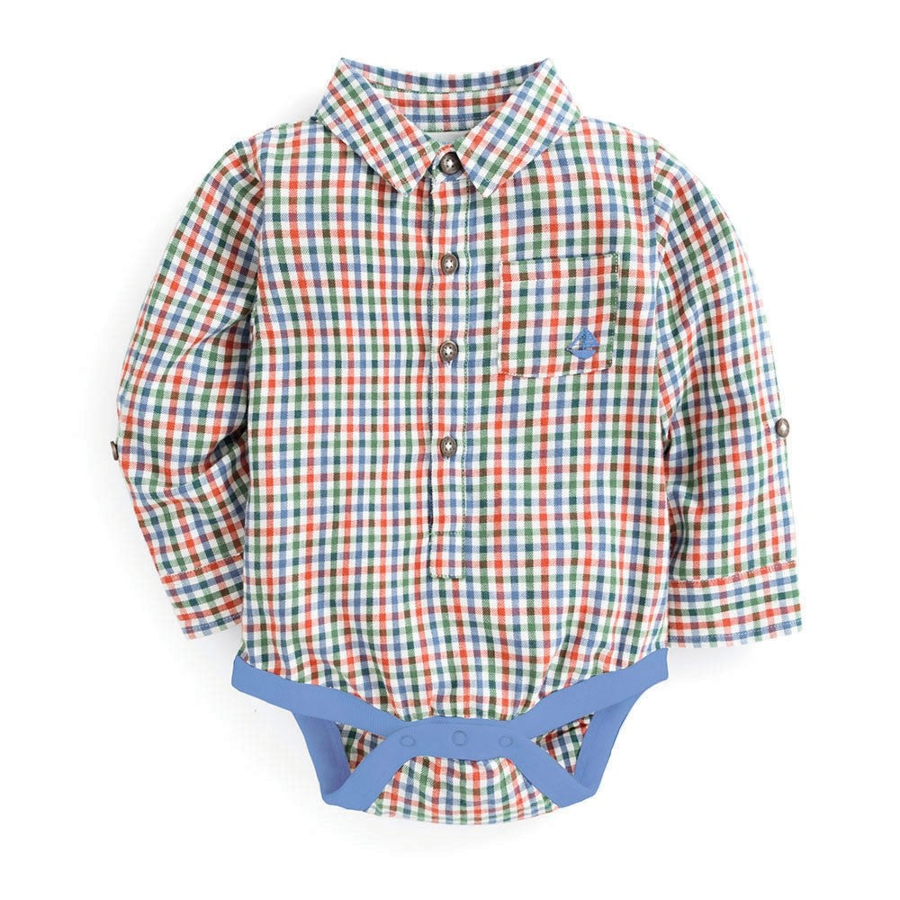 Plaid Shirt Bodysuit for Baby Boys