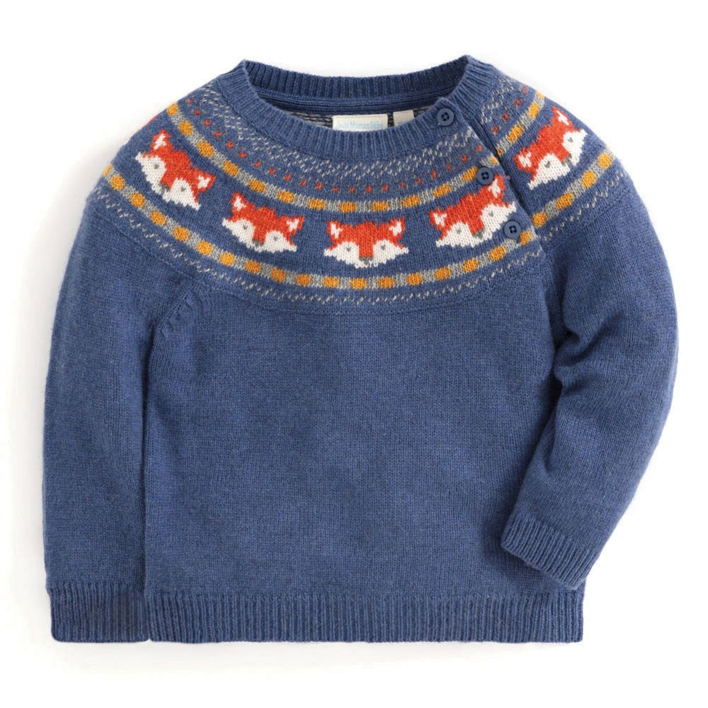 Boys Indigo Fox Fair Isle Sweater