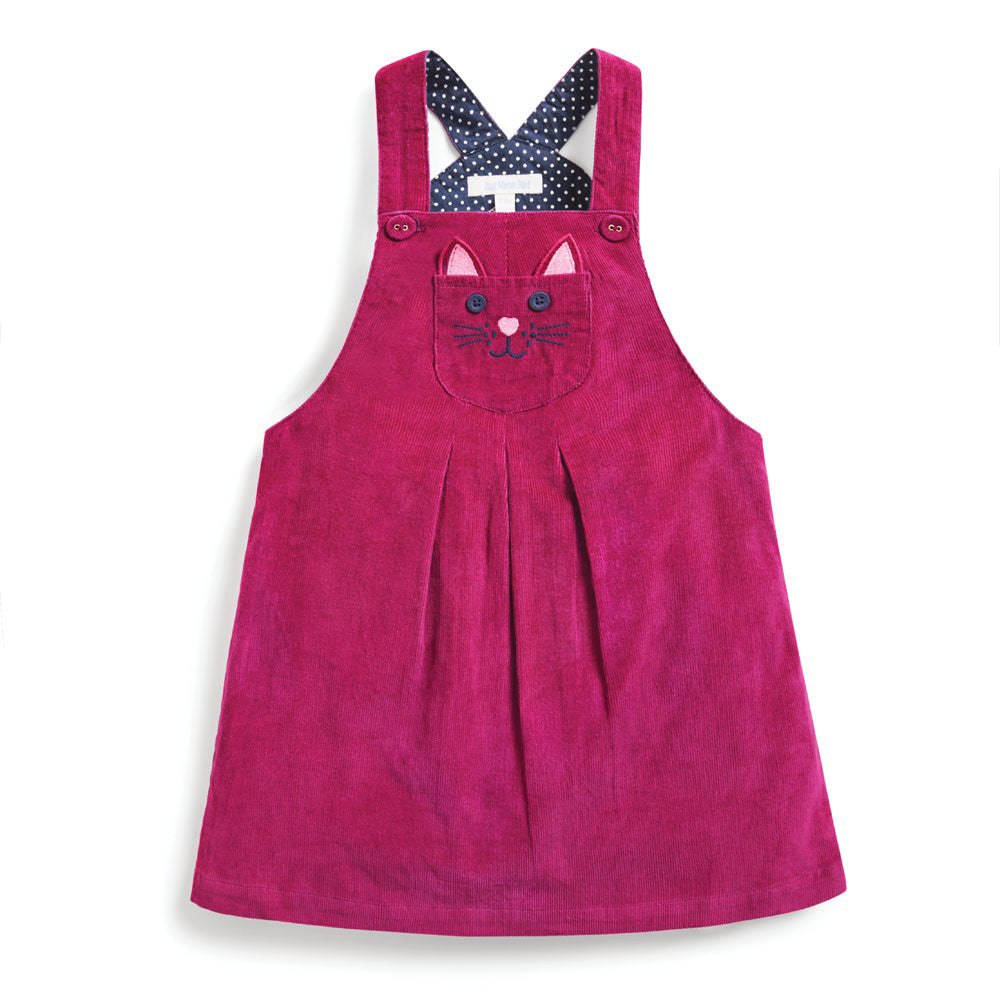 Raspberry Cat Cord Dungaree Dress