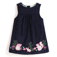 Girls Navy Woodland Cord Jumper Dress