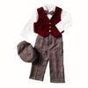 Little Boys Burgundy Vest Pant Set - Holiday Plaid