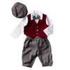 Boys Burgundy Vest/Plaid Knicker Set