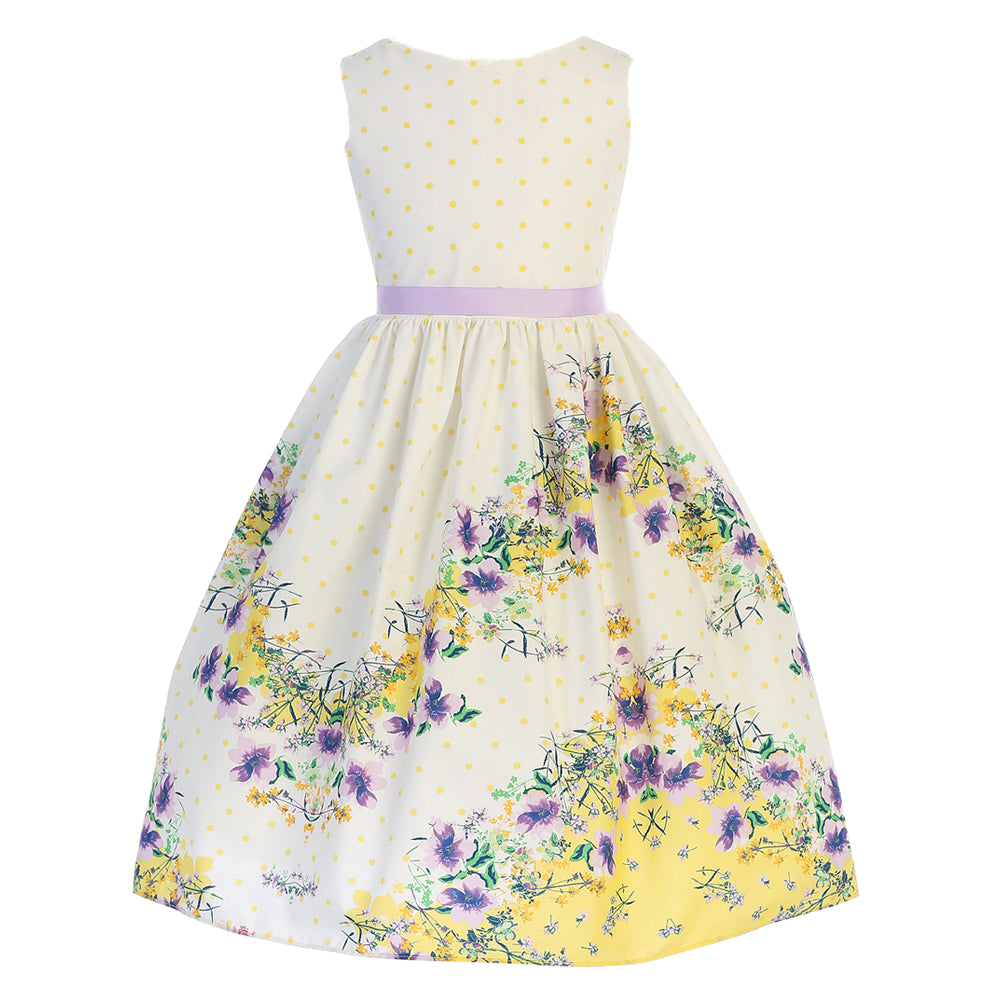 Yellow Floral Chevron Cotton Dress