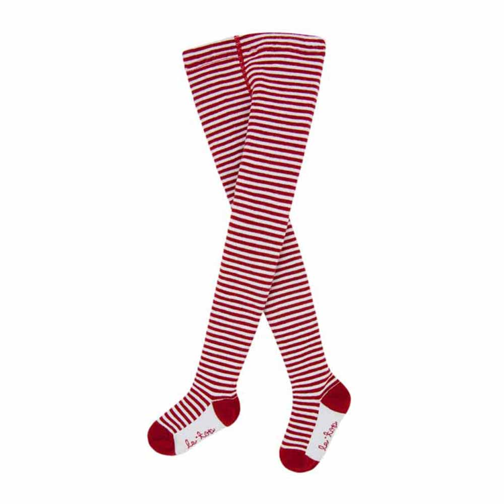 Girls Red and White Holiday Stripe Tights
