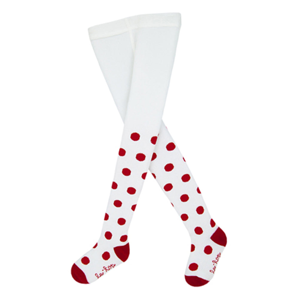 Girls White Holiday Tights with Red Dots