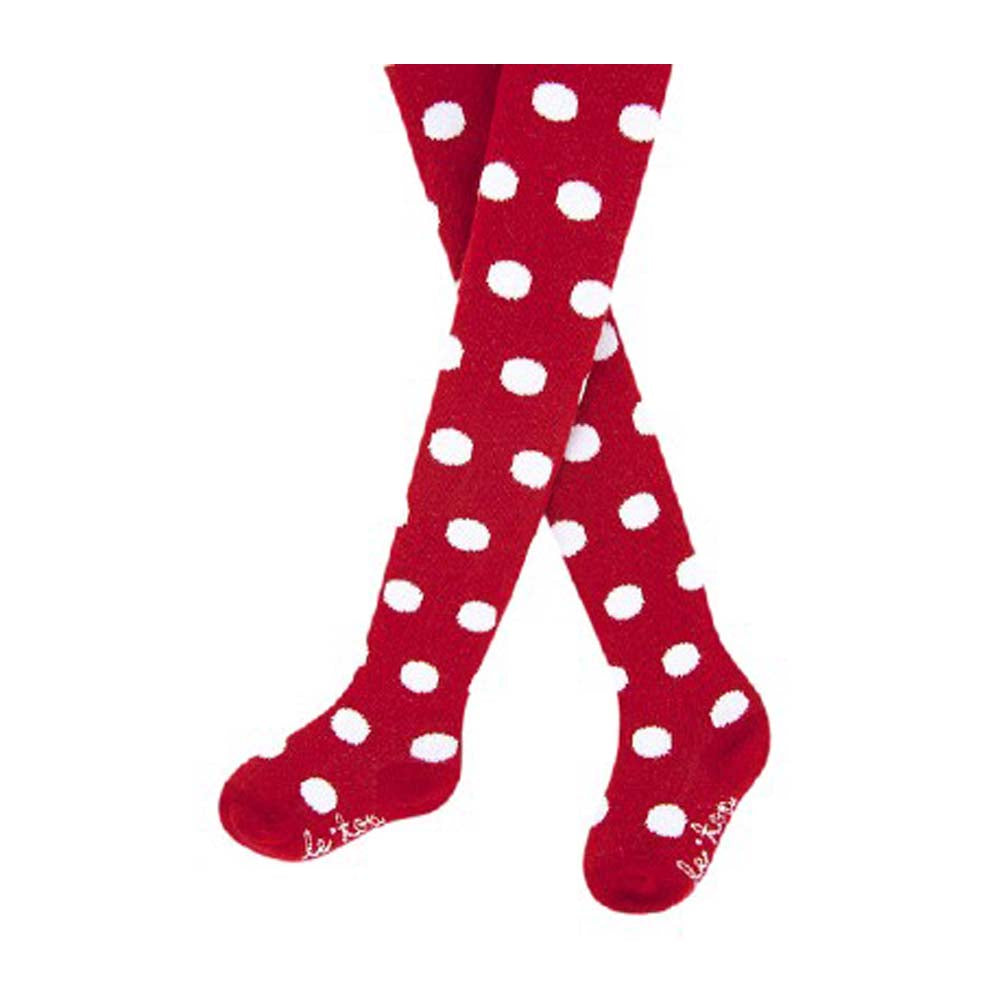 Girls Red Holiday Tights with White Dots