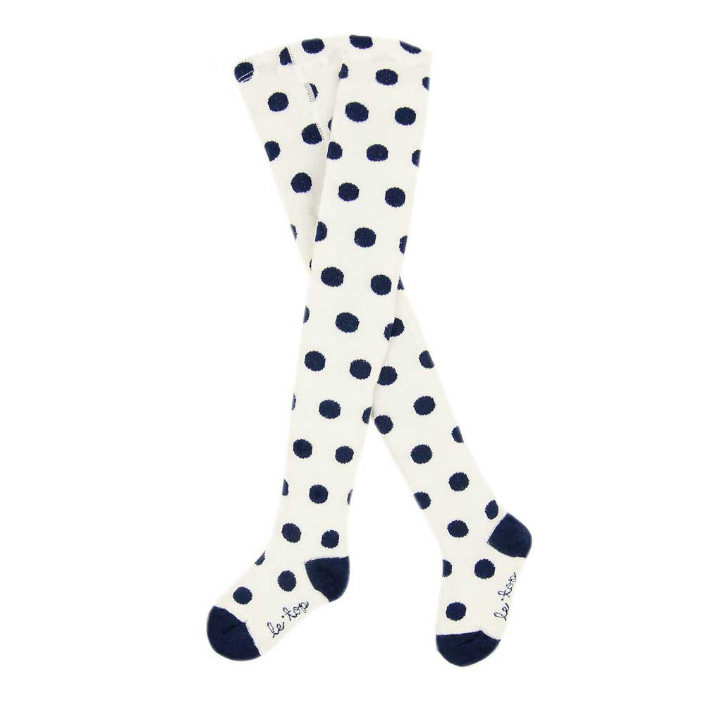 Girls White Holiday Tights with Navy Dots