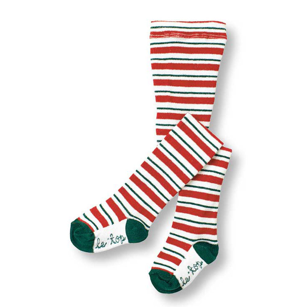 Girls Red, Green and White Striped Holiday Tights