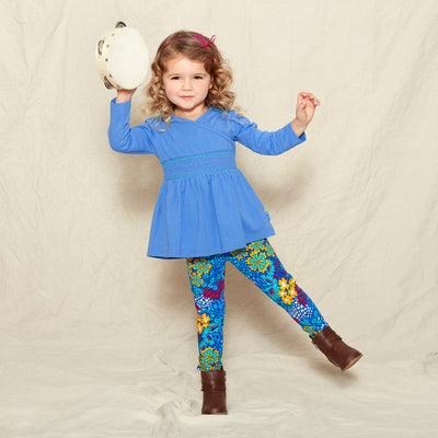 Periwinkle Top with  Smocking Leggings