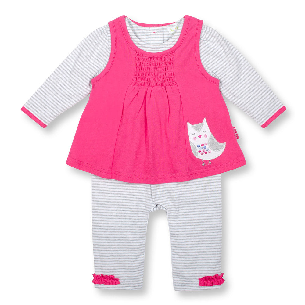 Baby Owl Pink/Grey Striped Jumpsuit
