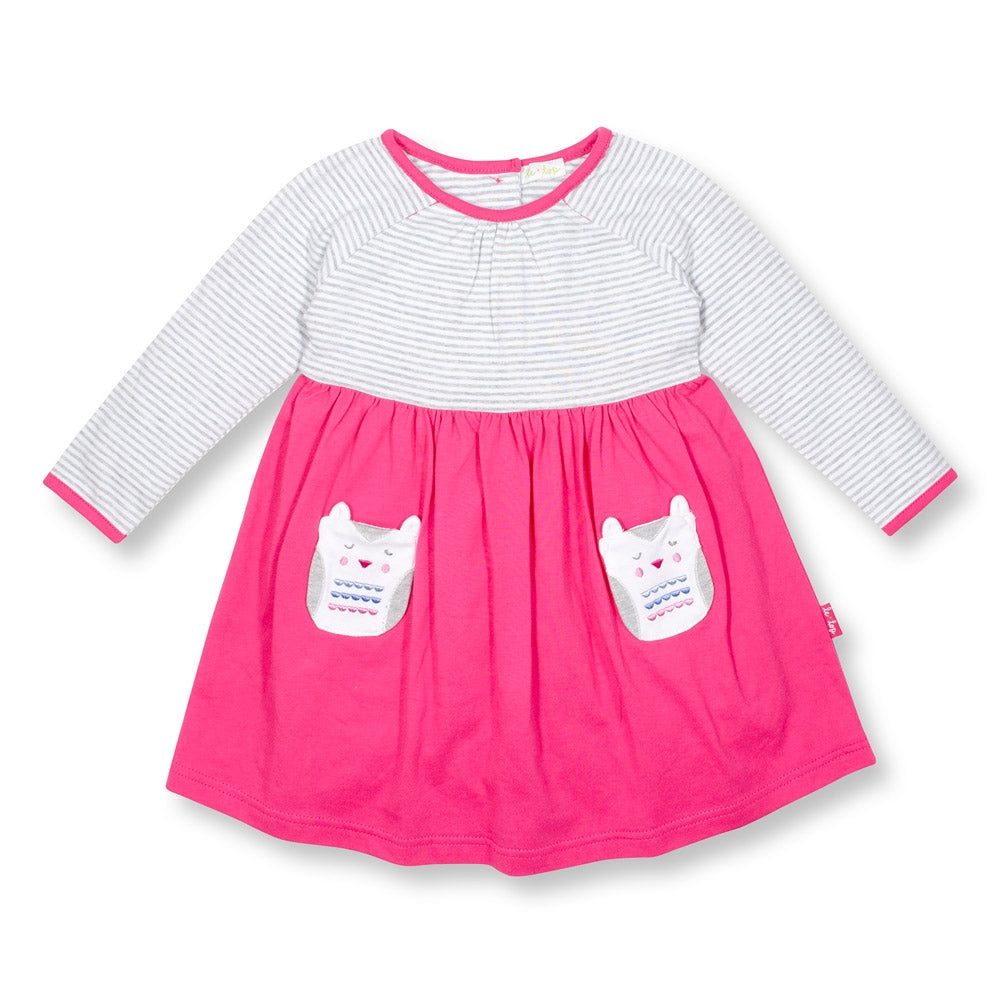 Mama Owl Dress for Toddler Girls Pink/Grey