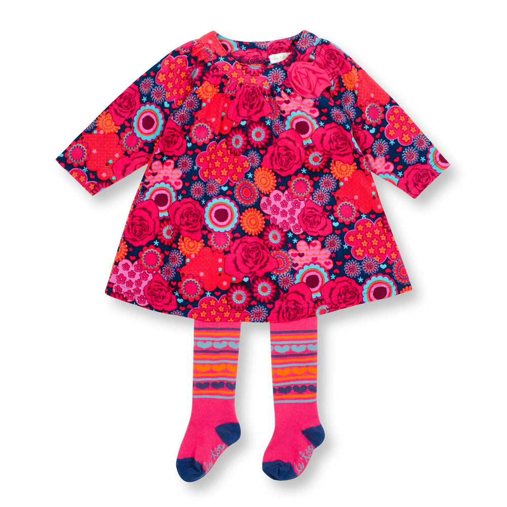 Kaleidoscope Corduroy Dress and Tights Set