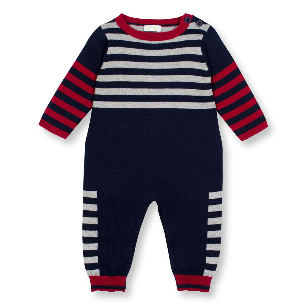 SOHO Boys Stripe and Solid Sweater Knit Coverall