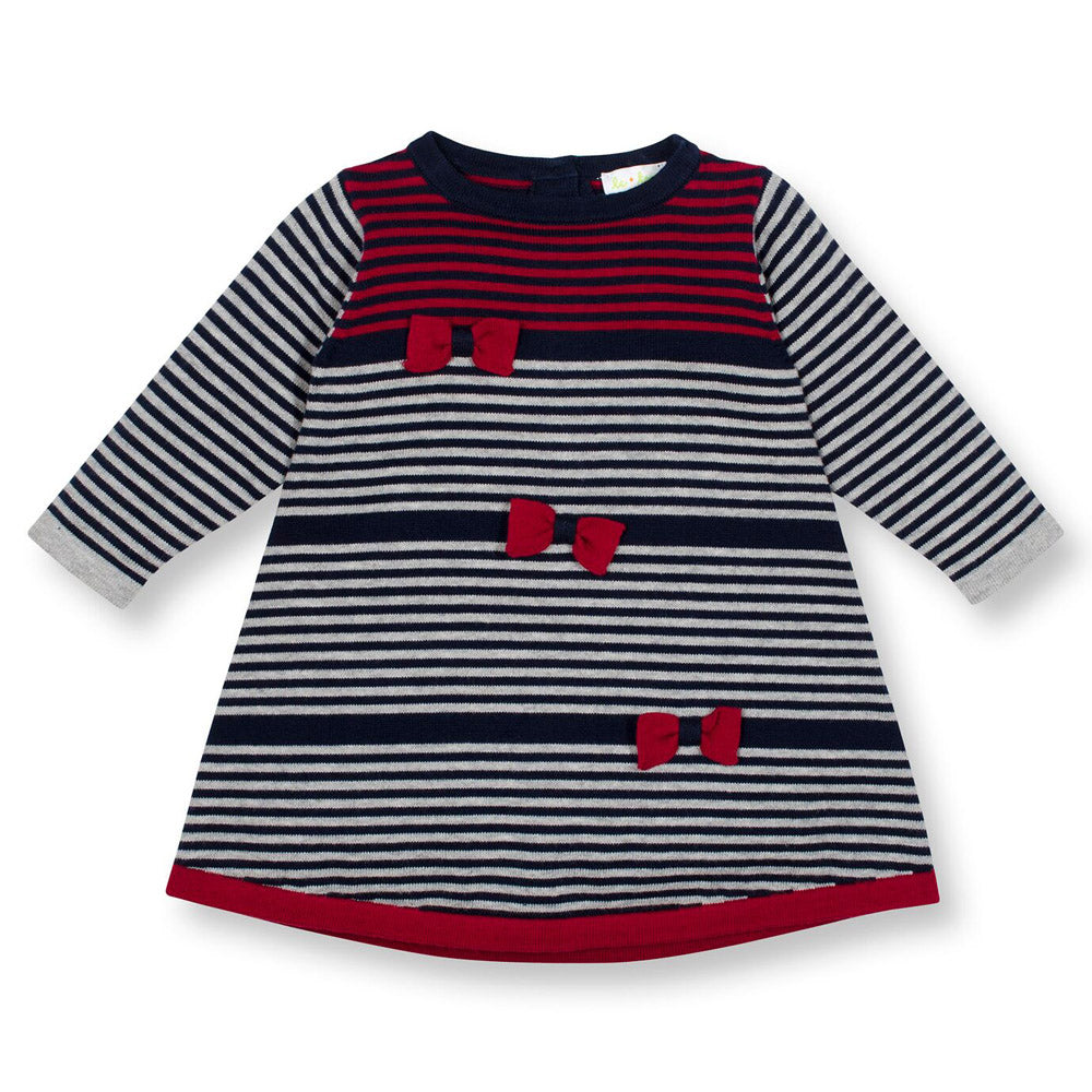 SOHO Striped A-line sweater Dress & Bows