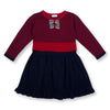 SOHO Red/Navy Striped Sweater Knit Flounce Dress & Bows