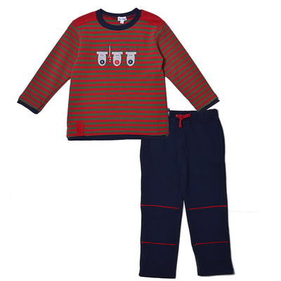 Boys Reindeer Striped Waffle Weave Top Solid Pant Set