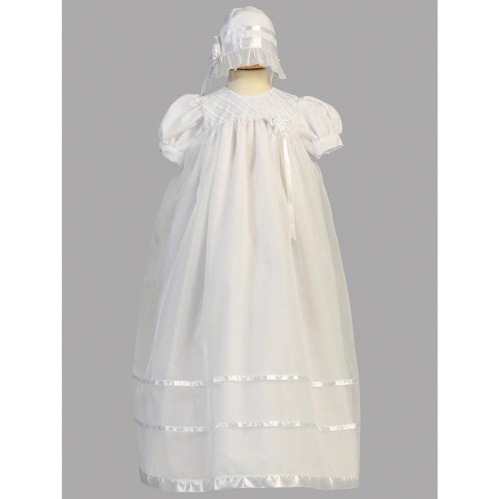 Baby Girls Embroidered Organza Long Christening Gown