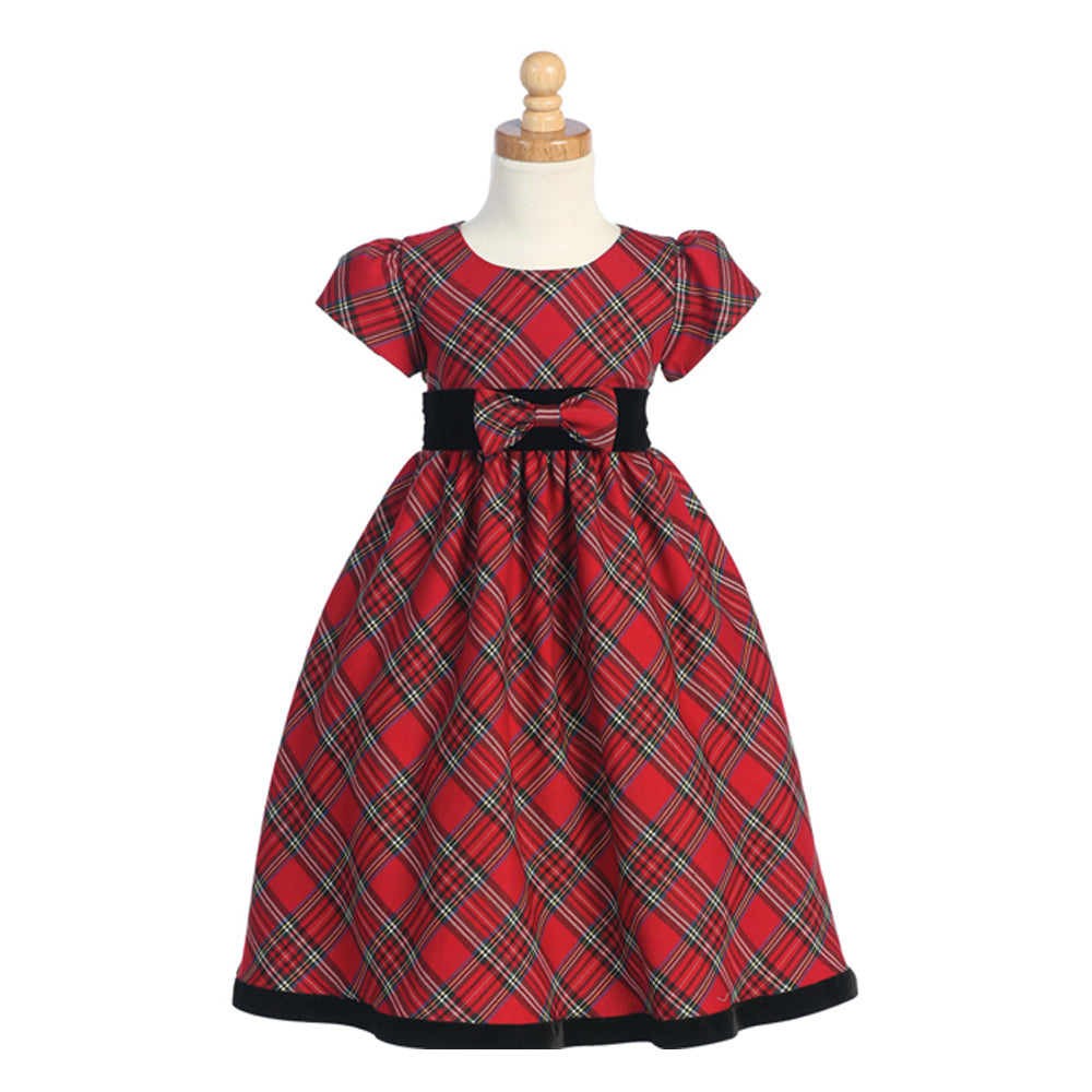 Girls Traditional Red Plaid Holiday Dress