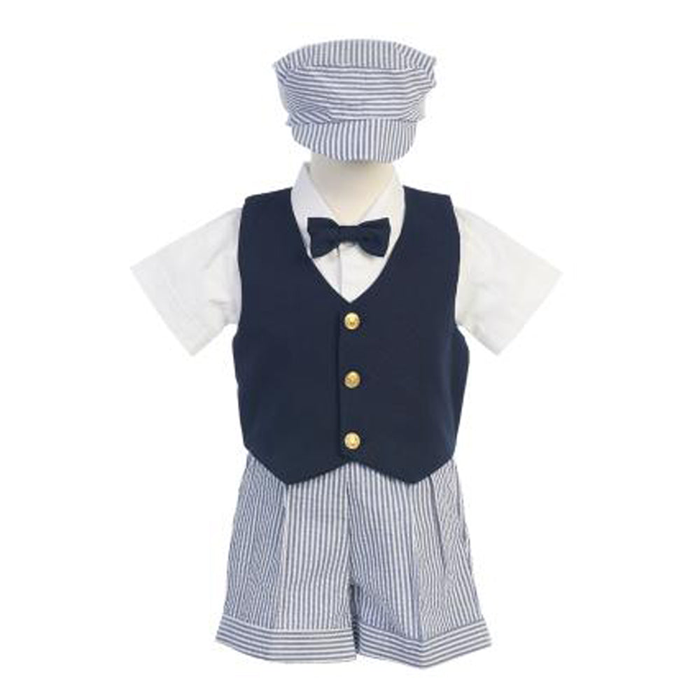 Navy Vest & Seersucker Shorts Bow Tie and Hat
