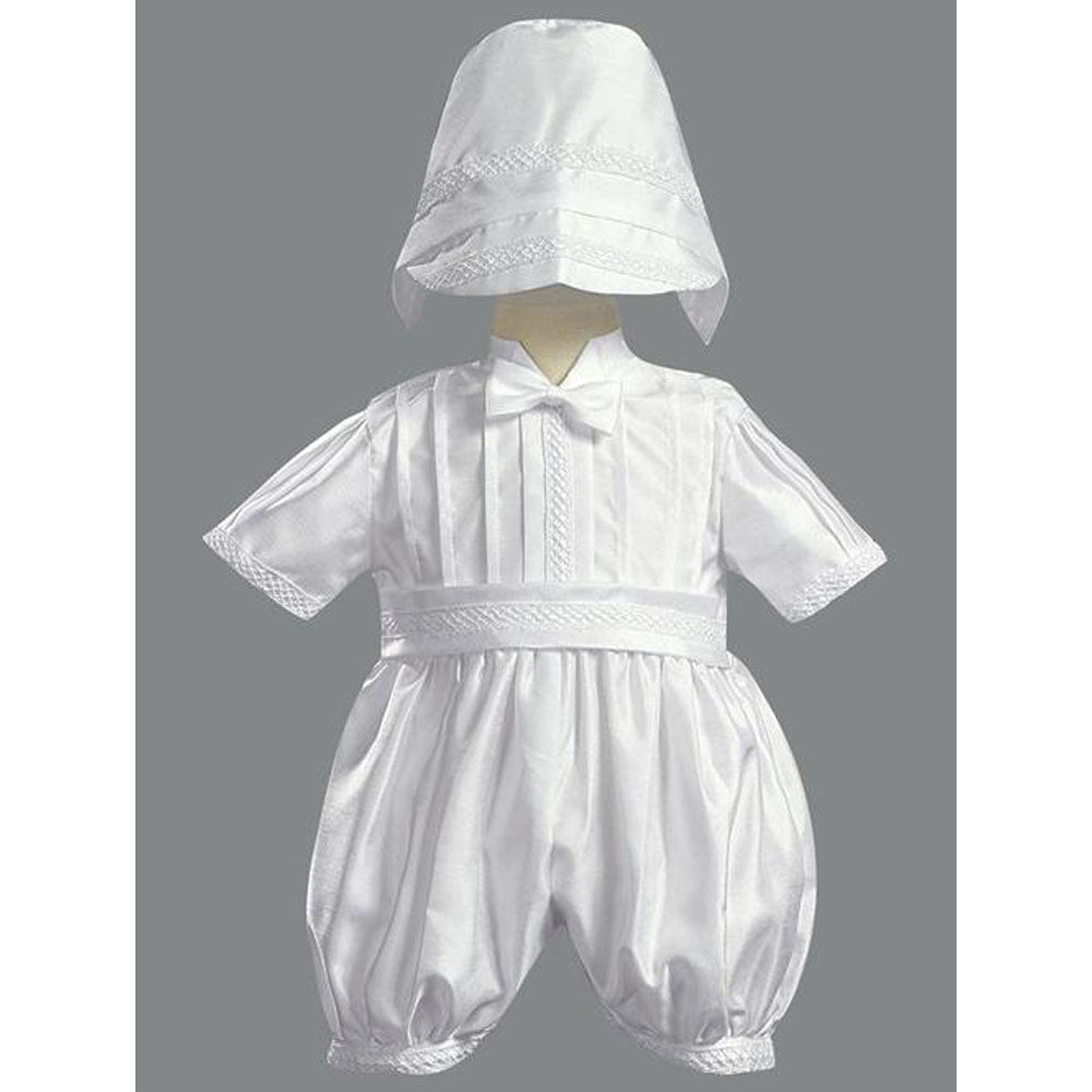 Baby Boys Shantung Silk Romper Christening Set