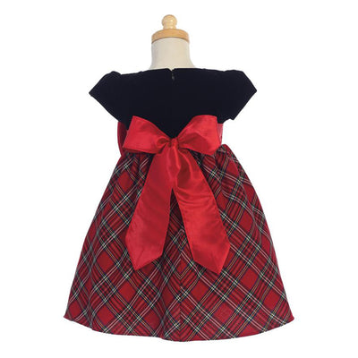 Red Plaid and Velvet Christmas Dress