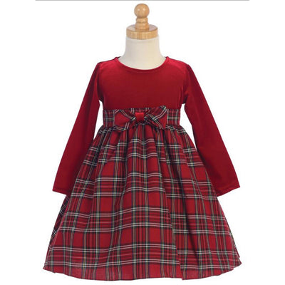 Red Velvet Holiday Dress & Plaid Skirt