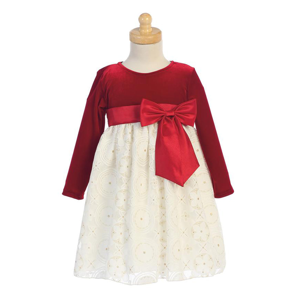 Red Velvet and Embossed Lace Holiday Dress
