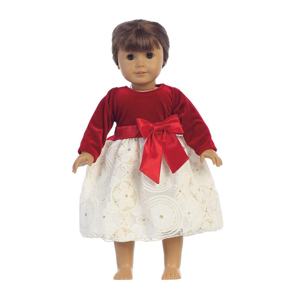 Red Velvet & Embossed Lace Holiday DOLL Dress