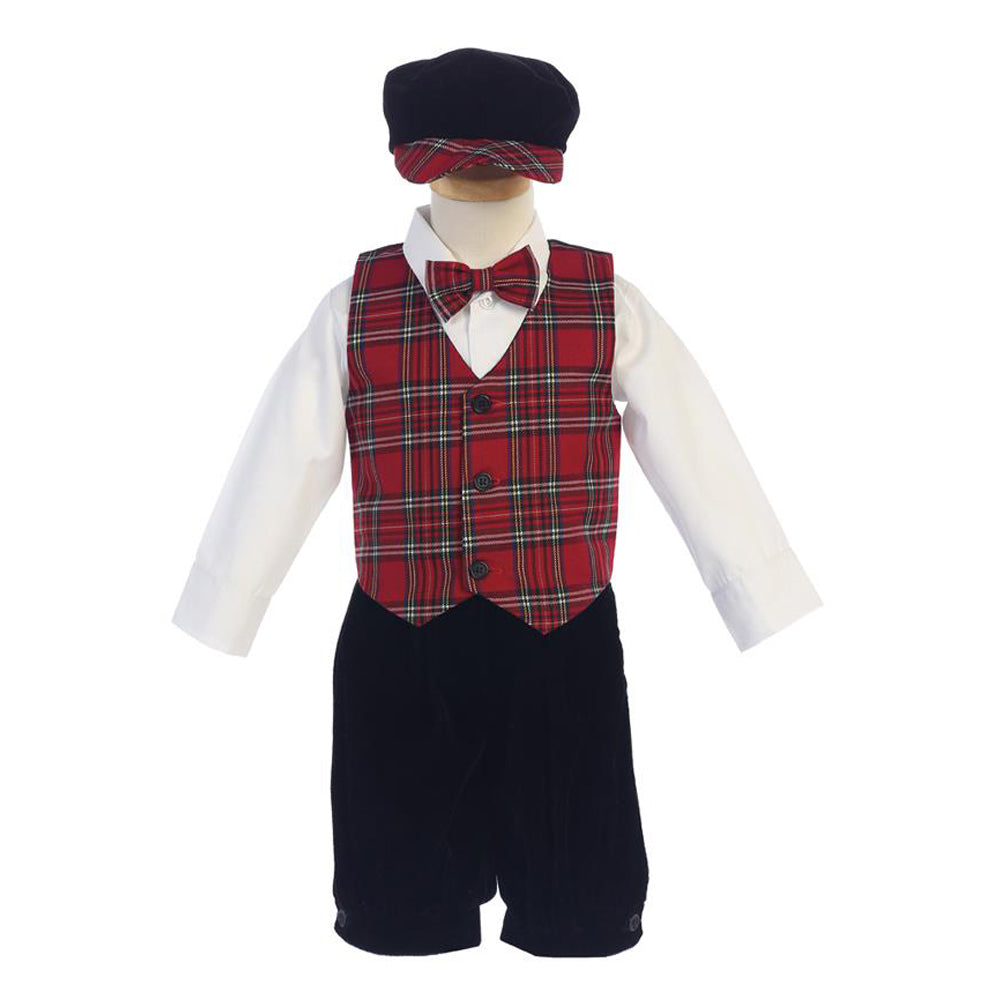 Boys Holiday Red Plaid Vest and Knicker Set