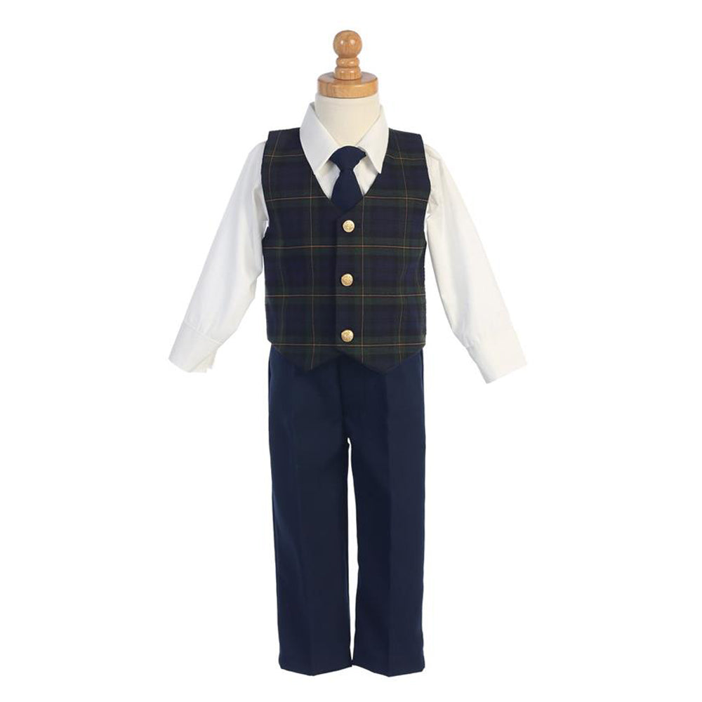 Boys Holiday Green Plaid Vest Set