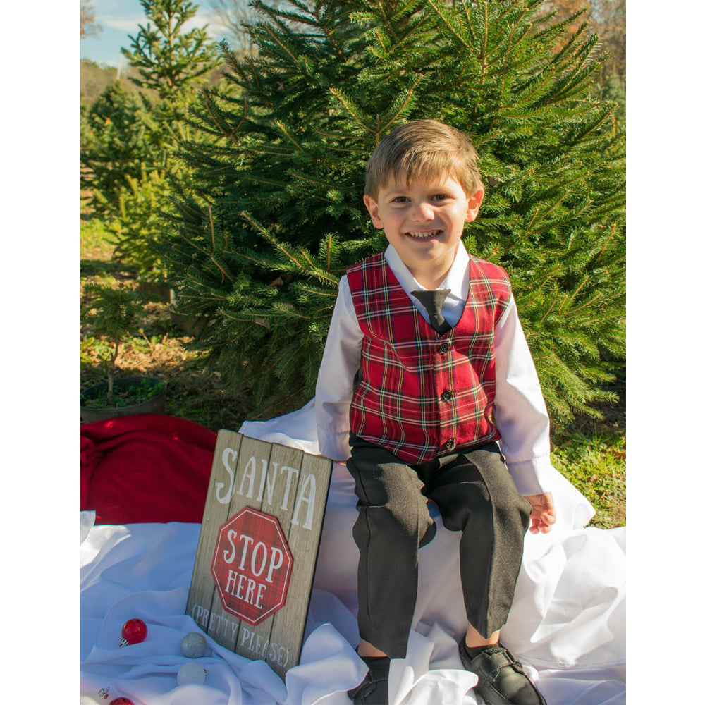 Boys Holiday Red Plaid Vest Set