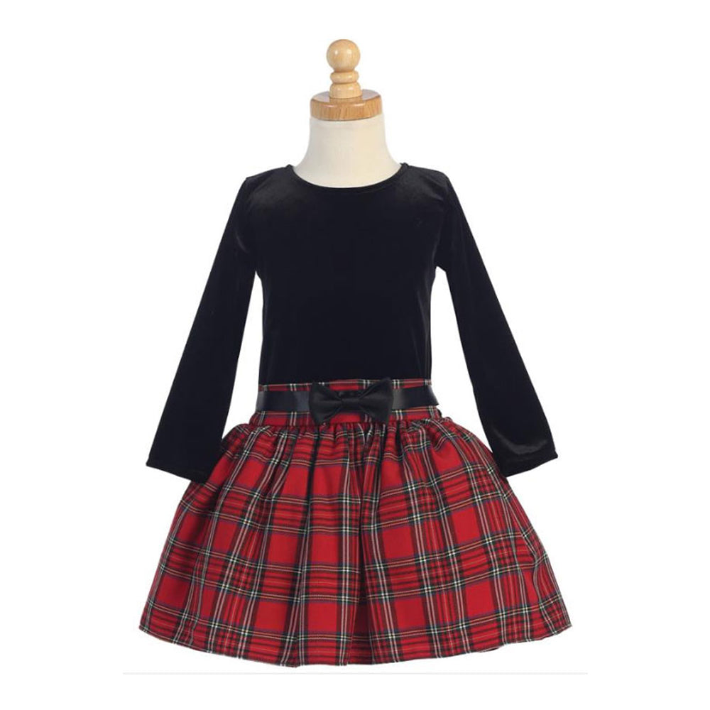 Girls Red Plaid Drop Waist Dress
