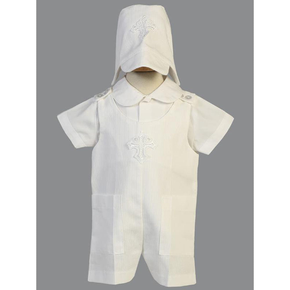 Cotton Christening Ethan Romper with Cross Applique