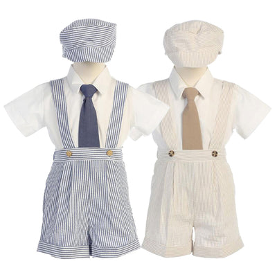 Boys Seersucker Suspender Shorts