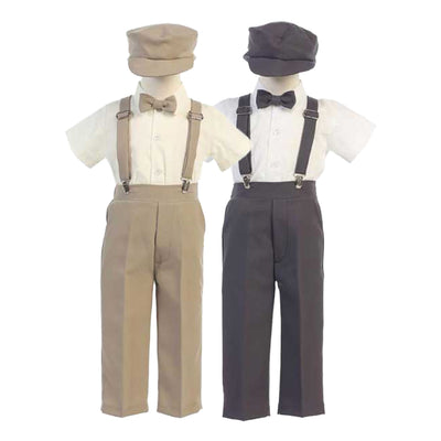 Boys Suspender Pant Set & Hat