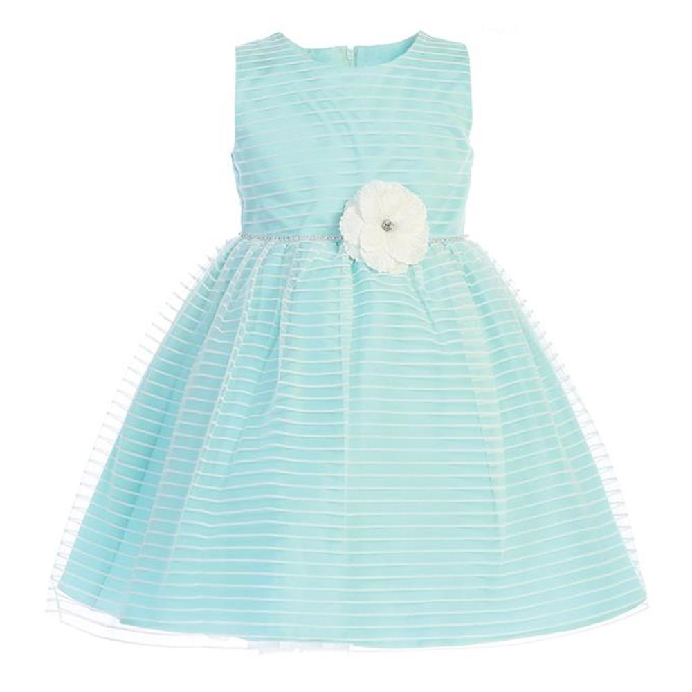 Aqua Striped Tulle Dress with Rhinestone Trim