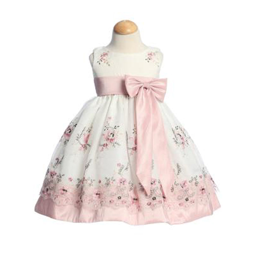 Embroidered Organza dusty rose dress baby and toddler girl