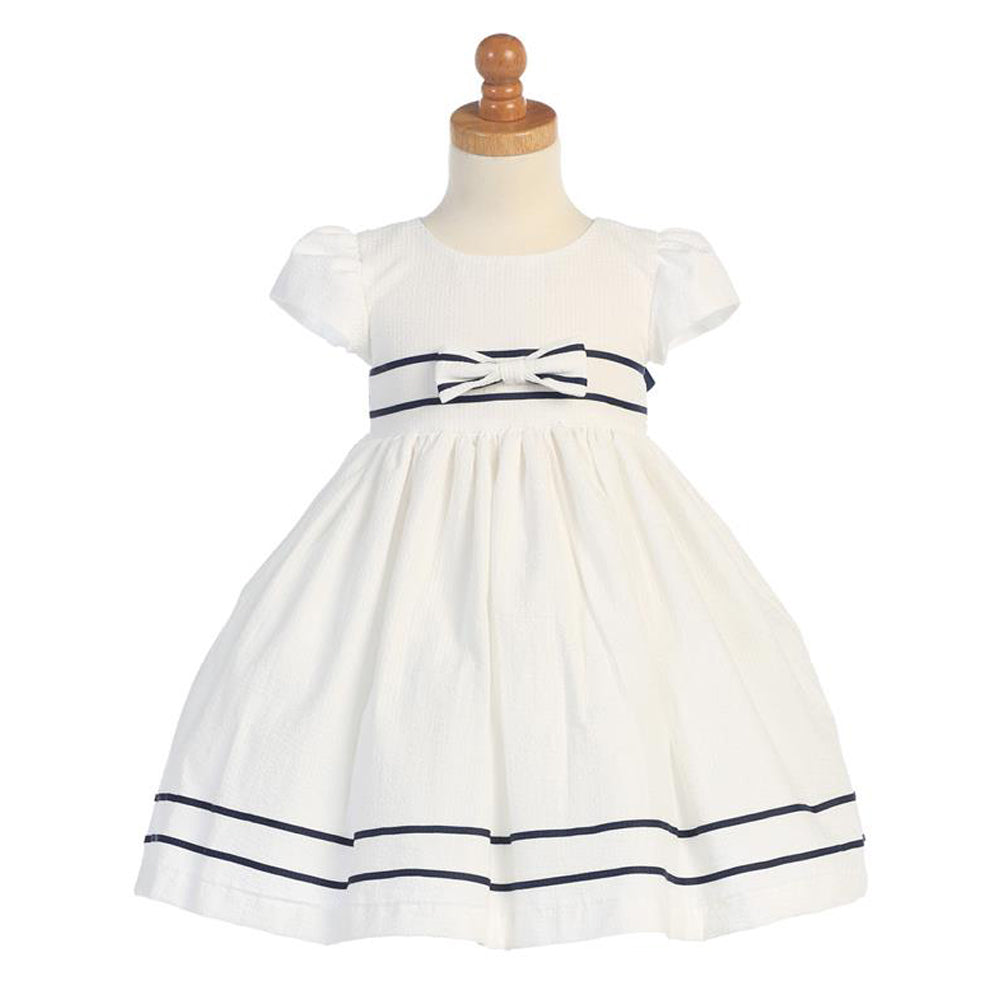 White Cotton Seersucker Dress with Navy Stripe