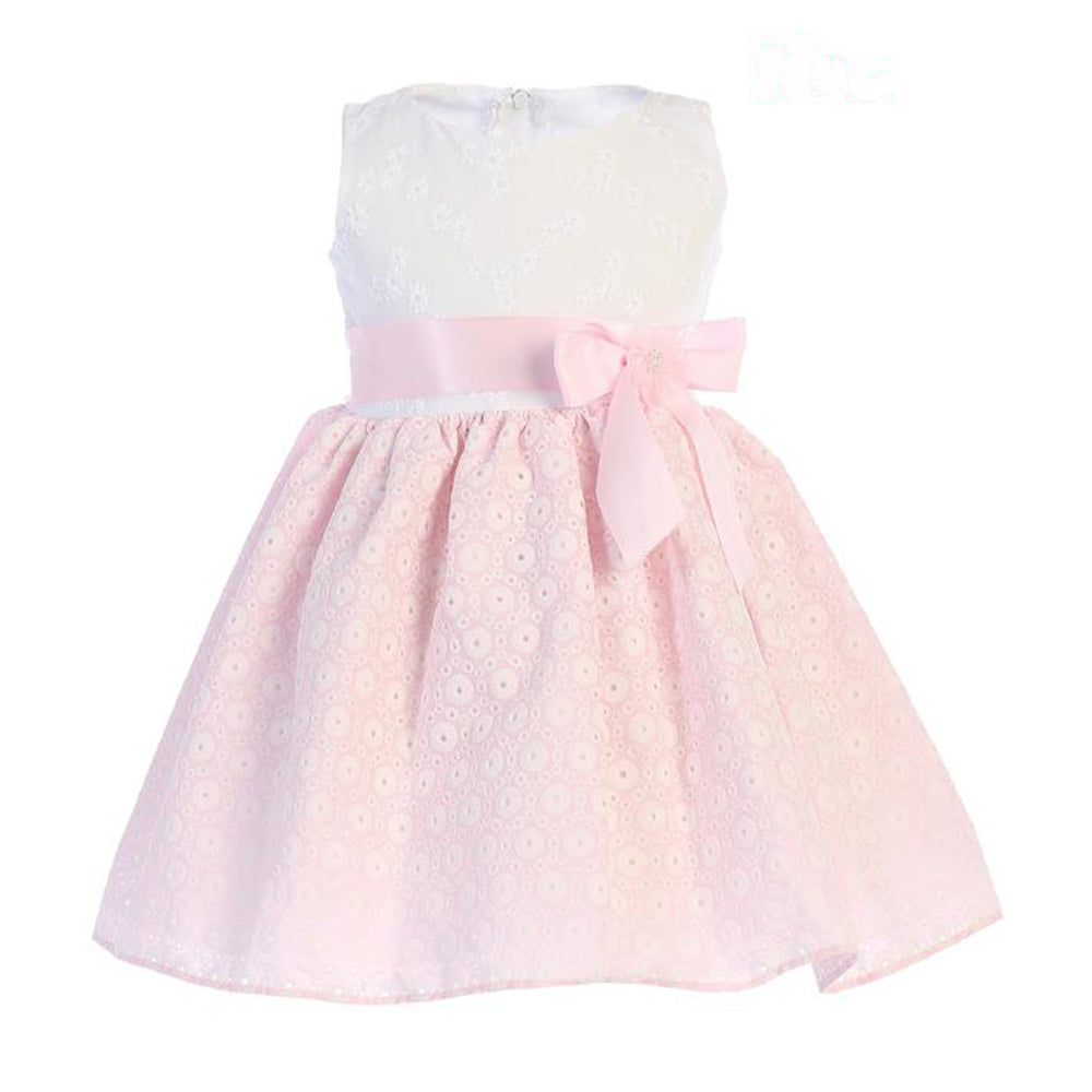 Baby Girls white and Pink Embroidered Dress