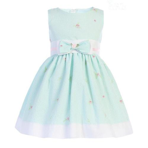 Mint Gingham with Embroidered Flowers Cotton Dress
