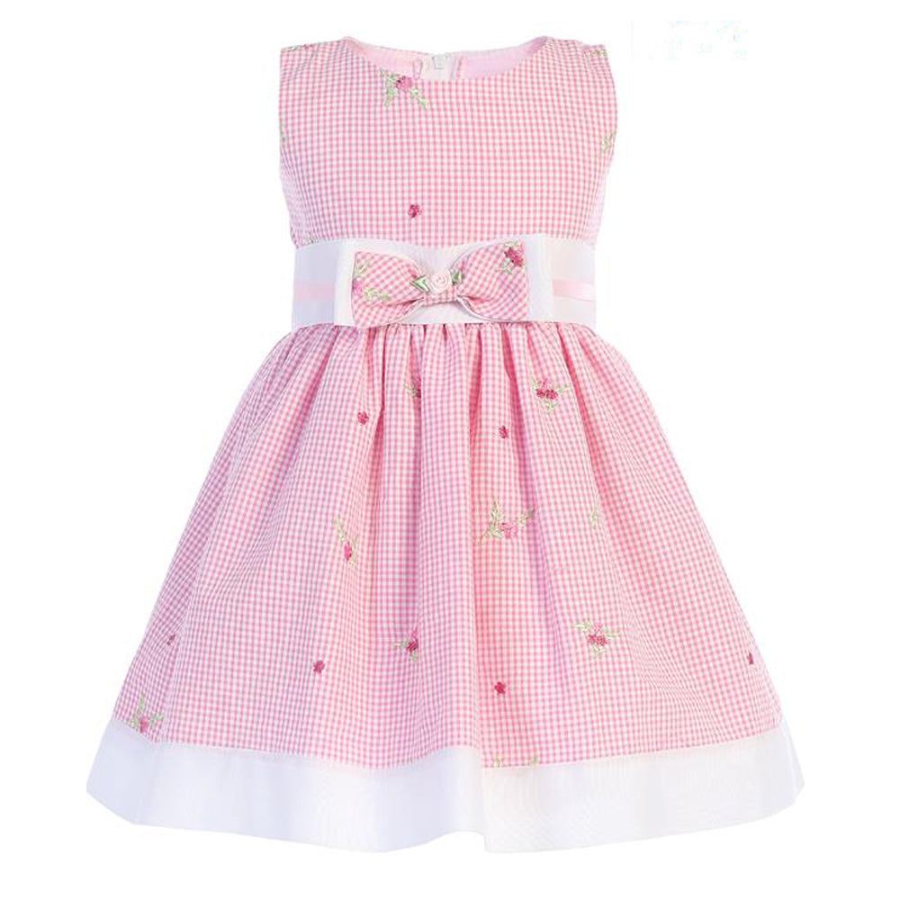 Pink Gingham with Embroidered Flowers Cotton Dress