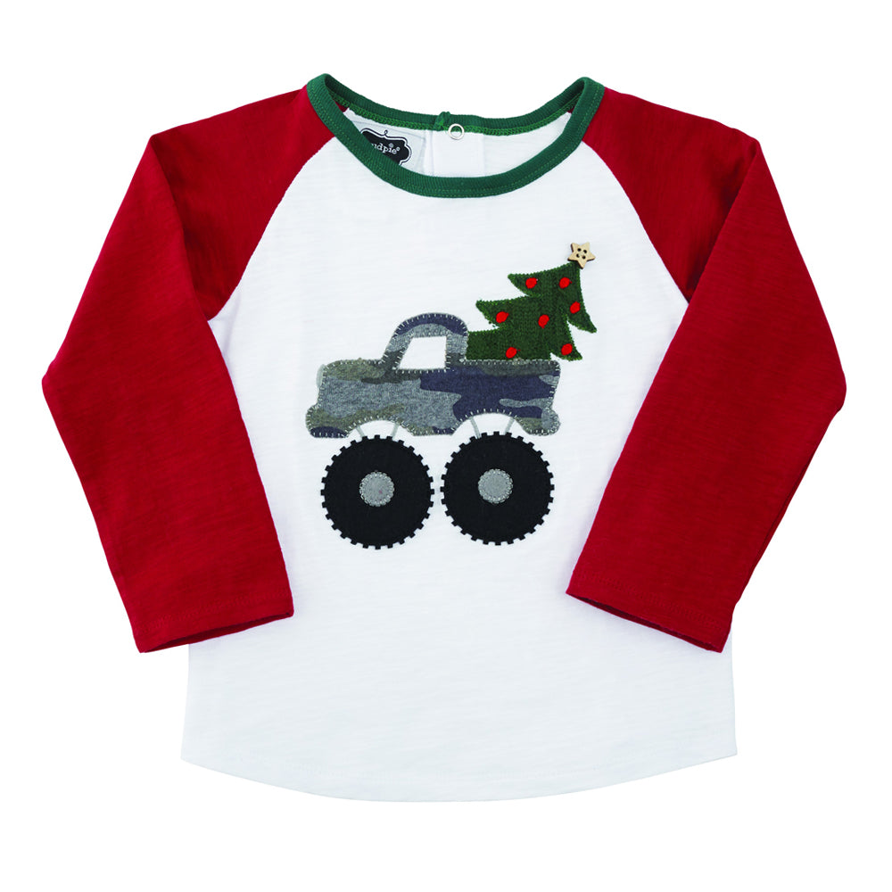 Boys Camo Truck & Christmas Tree Shirt