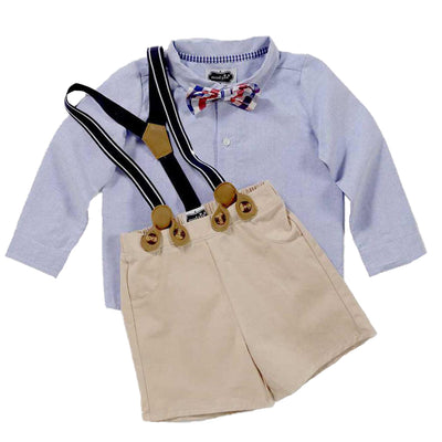 Boys Little Gentleman Suspender Short Set
