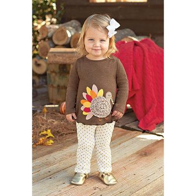 Girls Thanksgiving Turkey Tunic & Gold Dot Legging Set