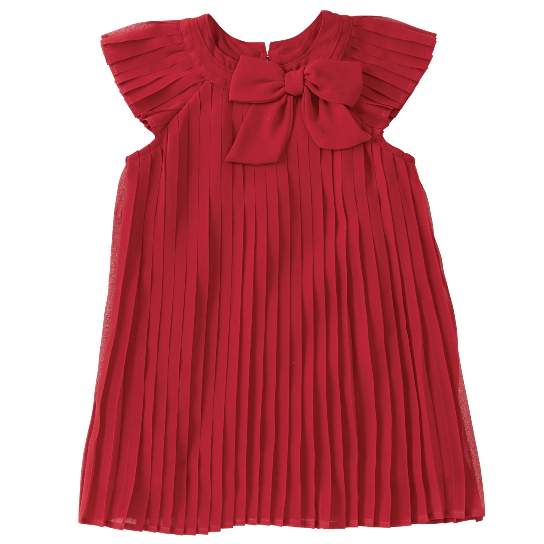Girls Claret Pleated Dress