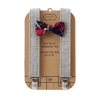 Plaid Bow Tie & Tweed Suspender Set