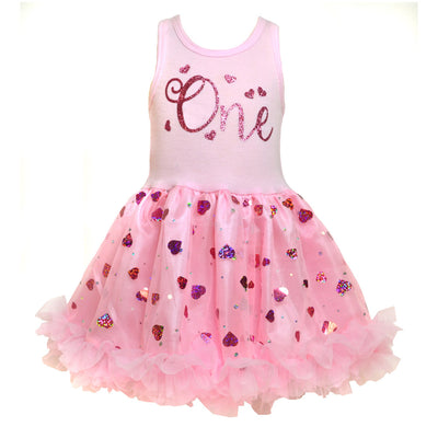 One, Two, Three and Four Pink Hearts Birthday Dress