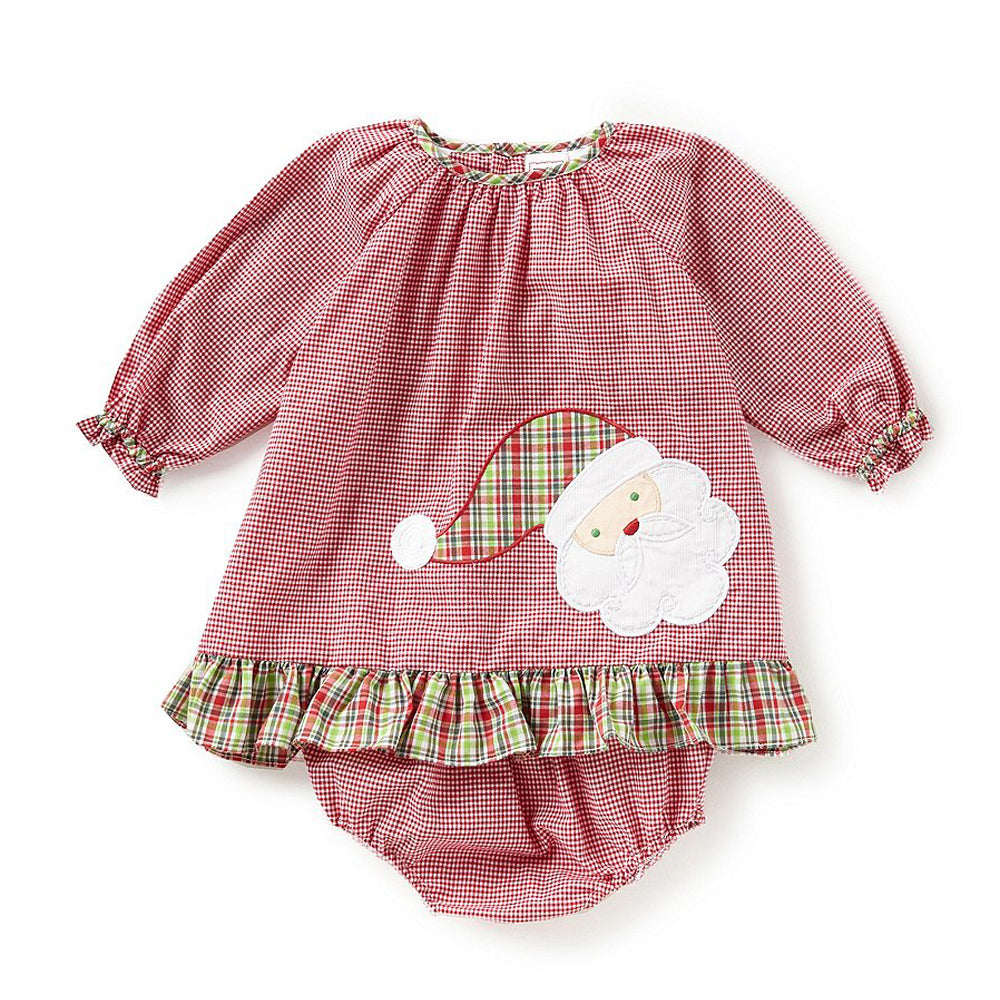 Baby Girl Red Gingham Santa Dress